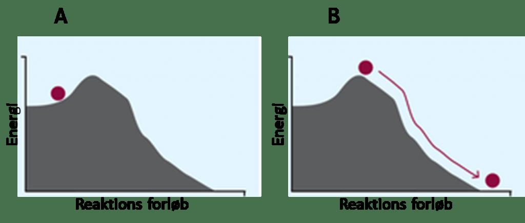 Figur 8. Katalyse. A: Kuglen ligger i en dal og kan derfor ikke trille ned af bakken. B: Kuglen har fået tilført energi i form af et skub. Den kan nu trille ned ad bakken af sig selv.